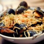 shrimp and mussel fideos